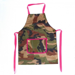 Delantal militar borde fucsia