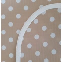 Mantel Impermeable lunares grandes beige y blanco