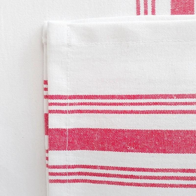Mantel blanco rayas rojas