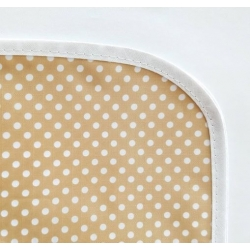 Mantel impermeable lunares beige y blanco