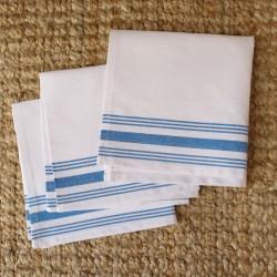 Pack 6x - Servilleta blanca rayas celestes