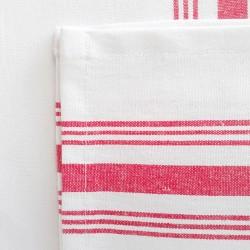 Pack 6x - Servilletas blanca rayas rojas
