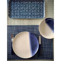 Plato melamina azul y blanco