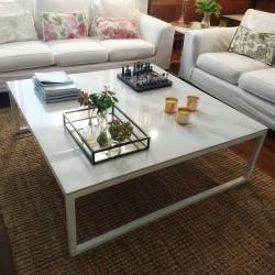 Mesa ratona cuadrada - Carrara - blanca