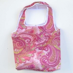 Bolso Multiuso arabesco fucsia y blanco borde blanco