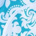 Mantel de género Flor de liz aqua borde blanco